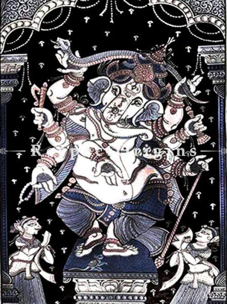 Buy Ganesh Dancing Pattachitra Katha Ganesh dancing Pattachitra Painting Canvas Large Vertical Folk Art of Odisha 40x24; RespectOrigins.com