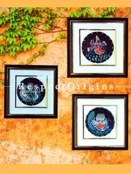 Buy Ganjifa Card Hand Painted Wall Art; 8X8 Inches Framed; Set of 3 at RespectOrigins.com