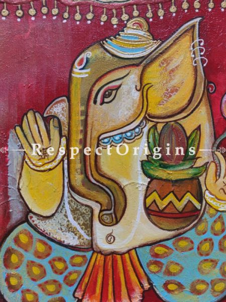 Lord Ganesha; Acrylic On Canvas Painting; 12 X 18 Inches; RespectOrigins.com