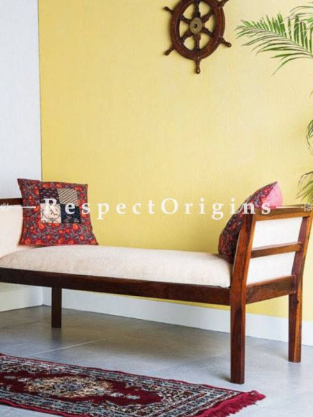 Buy Contemporary Bench in Solid Wood; White Cushion. At RespectOrigins.com