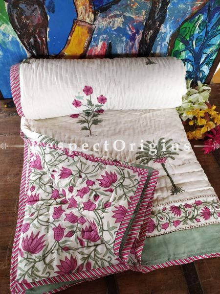 Gardenia Luxury Rich Cotton- filled Reversible King Comforter; Hand Block-printed; 105 x 87 Inches; RespectOrigins.com