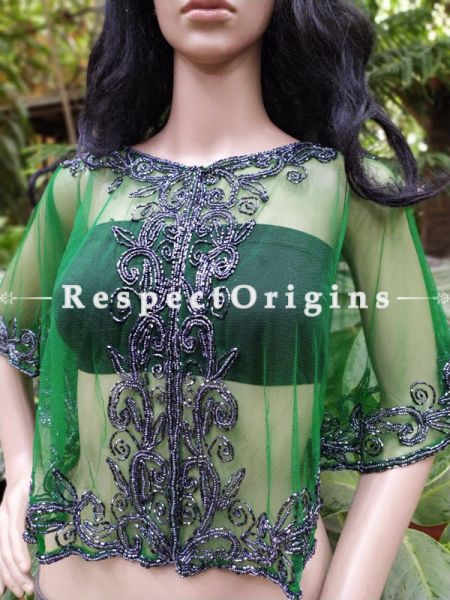 Green Georgette Handcrafted Beaded Poncho Cape or Shrug for Evening Gowns or Dresses; RespectOrigins.com