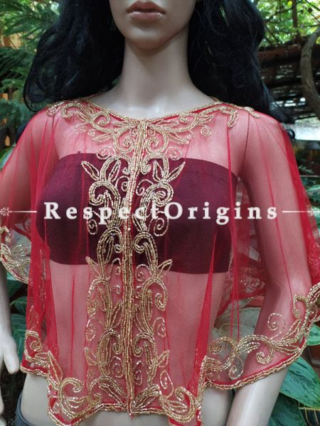 Red Georgette Handcrafted Beaded Poncho Cape or Shrug for Evening Gowns or Dresses; RespectOrigins.com