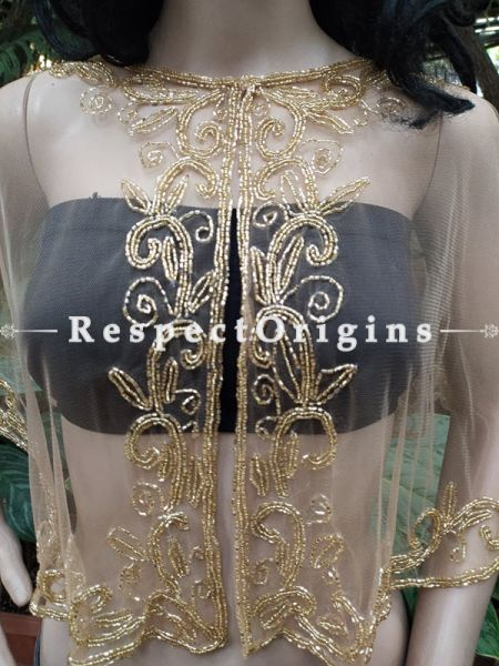 White Georgette Handcrafted Beaded Poncho Cape or Shrug for Evening Gowns or Dresses; RespectOrigins.com
