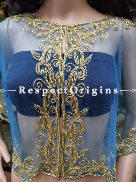 Blue Georgette Handcrafted Beaded Poncho Cape or Shrug for Evening Gowns or Dresses; RespectOrigins.com