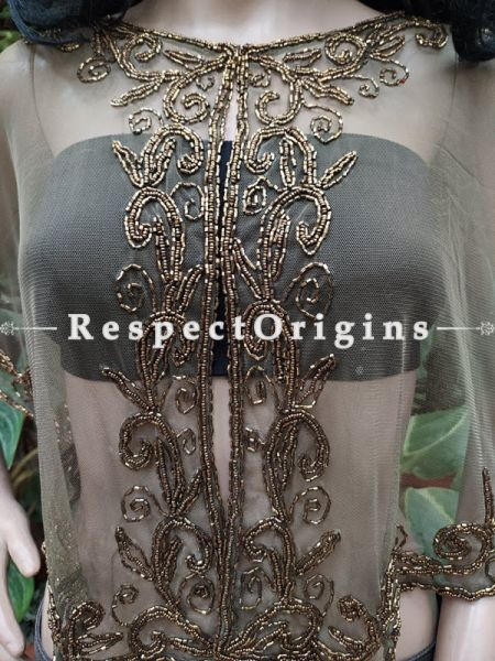 Beige Georgette Handcrafted Beaded Poncho Cape or Shrug for Evening Gowns or Dresses; RespectOrigins.com