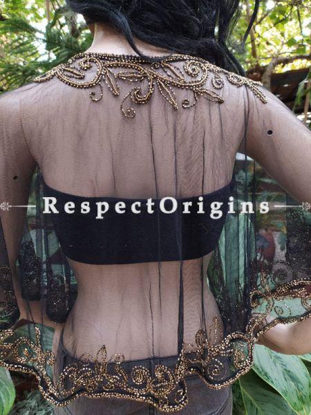 Black Georgette Handcrafted Beaded Poncho Cape or Shrug for Evening Gowns or Dresses; RespectOrigins.com