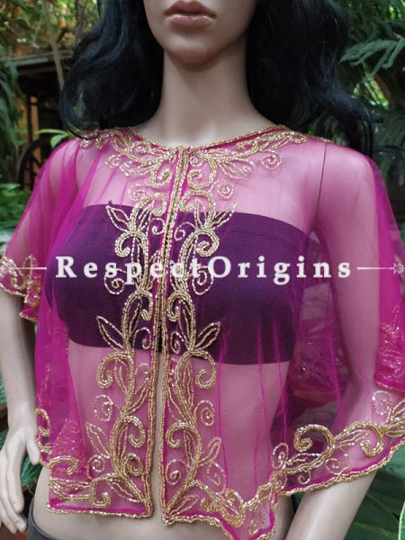 Pink Net Handcrafted Beaded Poncho Cape or Shrug for Evening Gowns or Dresses; RespectOrigins.com