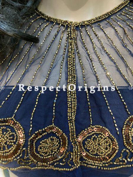 Vibrant Blue Net Handcrafted Beaded Poncho Cape or Shrug for Evening Gowns or Dresses; RespectOrigins.com