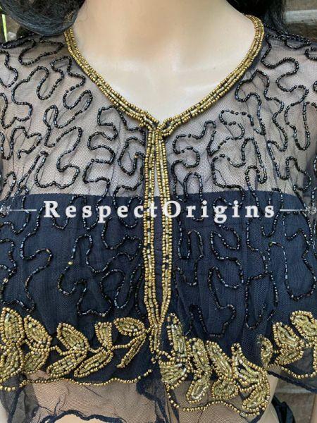 Black Net Handcrafted Beaded Poncho Cape or Shrug for Evening Gowns or Dresses; RespectOrigins.com