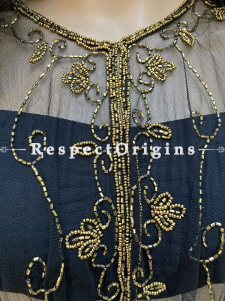 Black Net Handcrafted Golden Color Beaded Poncho Cape or Shrug for Evening Gowns or Dresses; RespectOrigins.com