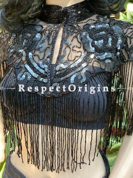 Fabulous Black Georgette Formal Dress Kurti Top with Beadwork; RespectOrigins.com
