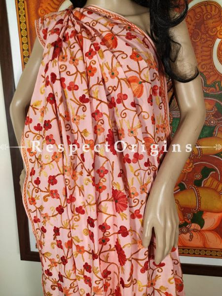 Designer Hand-embroidered Florals on Formal Kashmiri Cocktail Party Silk Saree with Blouse; Beige; RespectOrigins.com