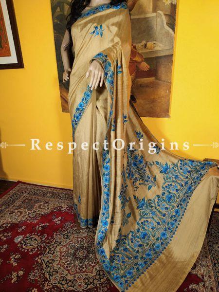 Designer Hand-embroidered Florals on Formal Kashmiri Cocktail Party Georgette Saree with Blouse; Beige; RespectOrigins.com