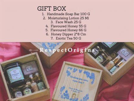 Gift Box; Handmade Soap,Moisturising Lotion,Face Wash,Flavoured Honey,Honey Dipper &Exotic Tea; RespectOrigins.com