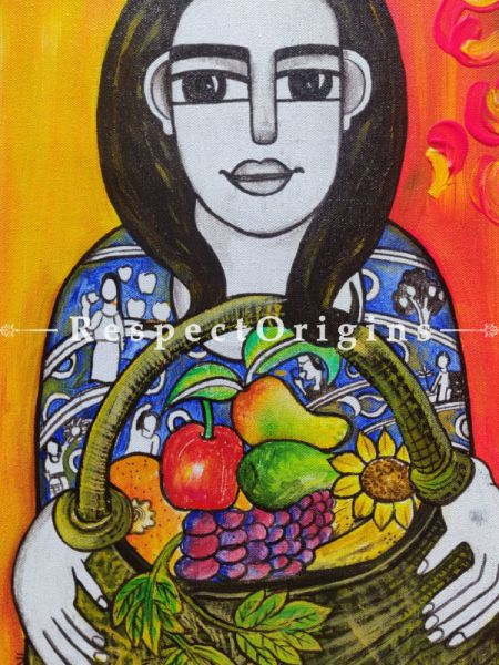Girl With Fruit Basket; Acrylic On Canvas Painting; 12 X 18 Inches; RespectOrigins.com