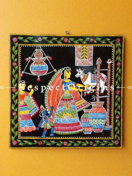 Buy God Krishna With Mother Yashoda; Square Tikuli Art Hand Painted Folk Wall Art; Cardboard; 12x12 in At RespectOrigins.com