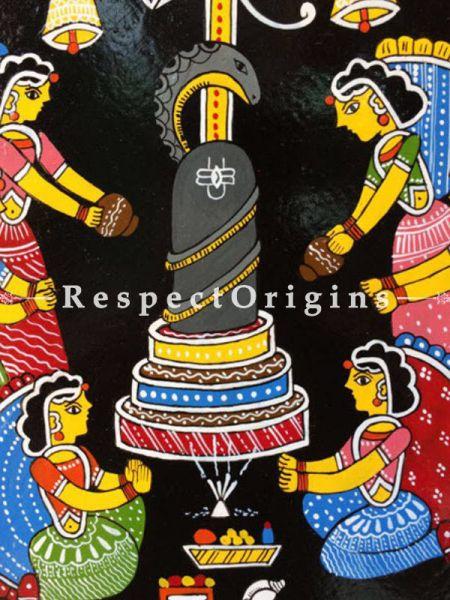 Buy God Shiva Puja; Tikuli Art Hand Painted Square Folk Wall Art; Cardboard; 17x17 in At RespectOrigins.com