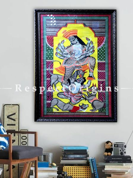 Goddess Durga Kalighat Painting on Paper in 23x43 in; Folk Art; Traditional Vertical Painting Using Natural Colour