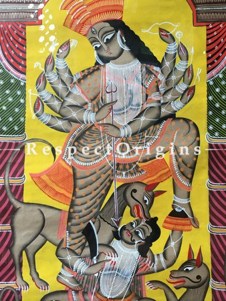Buy Goddess Durga Traditional Kalighat Painting On Paper in 23X43 inches| RespectOrigins