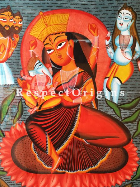 Goddess Parvati With Ganesha; Traditional Kalighat Painting On Paper Using Natural Colour; Vertical Folk Art of Bengal; 23X30 inches; RespectOrigins