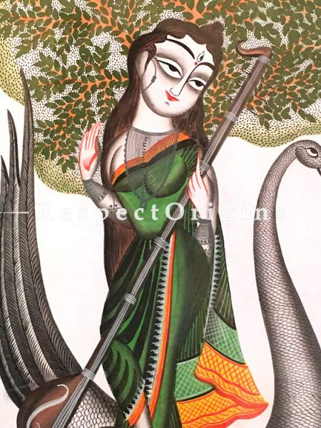 Buy Kalighat Painting of Goddess Saraswati Sitting On A Swan in 14X22 inches; On Paper;RespectOrigins