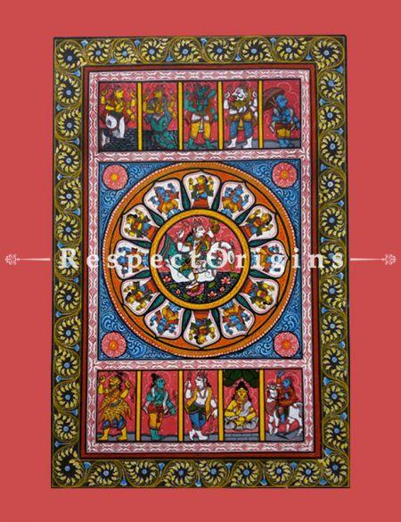 Goddess Saraswathi Pattachitra Katha; 18x12 in