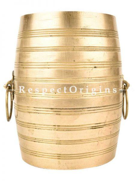 Buy Round Planter Striped Details Pot, Brass With Handles At RespectOrigins.com