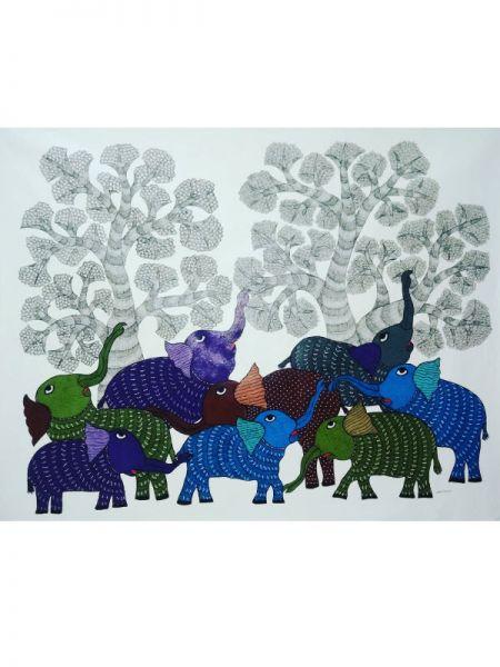 Elephant Gond Painting Contorting Trees ; 2*3 Ft; RespectOrigins.com
