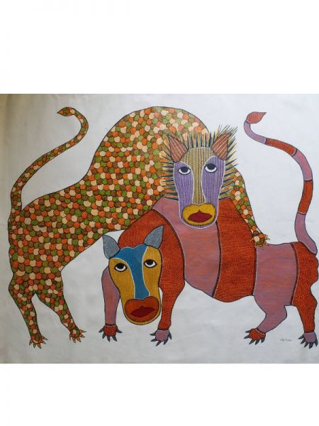 Classic Gond Painting ; 4*3 Ft; RespectOrigins.com