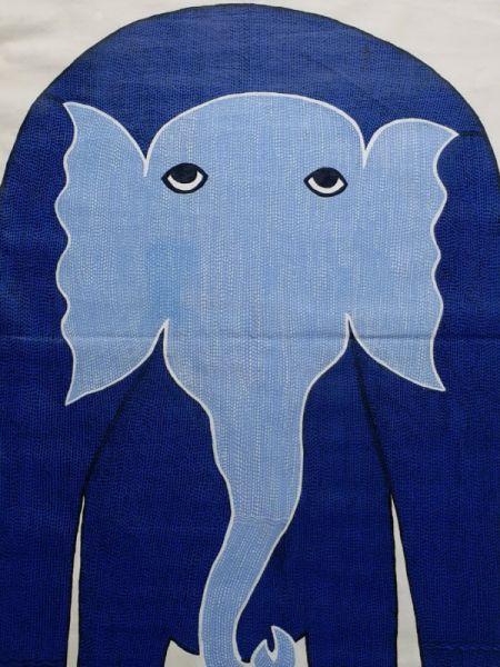Blue Elephant Gond Painting ; 3*2 Ft; RespectOrigins.com