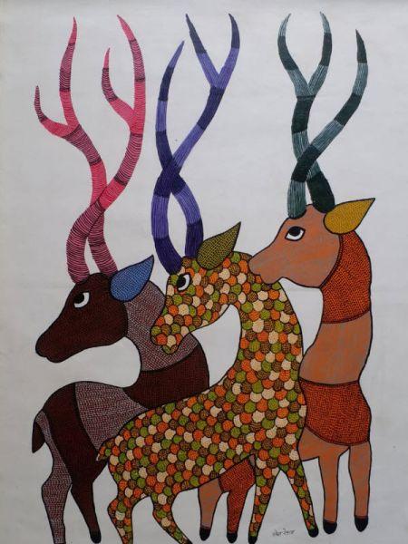 Deer Gond Painting ; 4*3 Ft; RespectOrigins.com