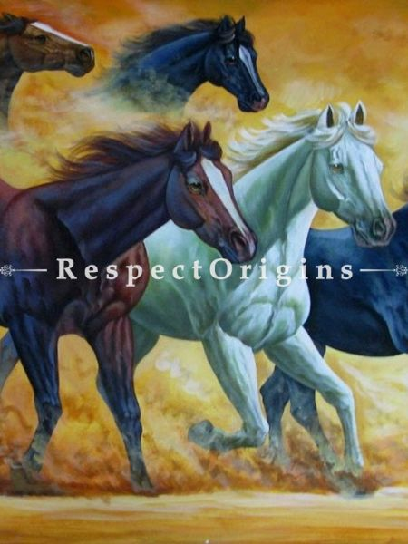 7 Good Luck Horses Rajmer06 Painting Acrylic Colors on Canvas - 48in x 24in |Buy 7 Good Luck Horses Rajmer06 Painting Acrylic Colors on Canvas - 48in x 24in  Online|RespectOrigins