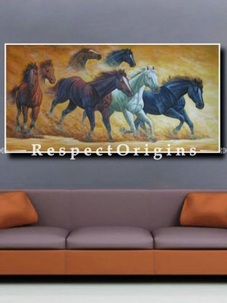 Horses; Painting Acrylic Colors On Canvas - 48In x 24In
