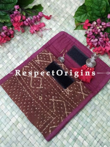 Gorgeous Brown Kantha Embroidered Kindle iPad or Diary Cotton Bag; 10 x 7 Inches; RespectOrigins.com