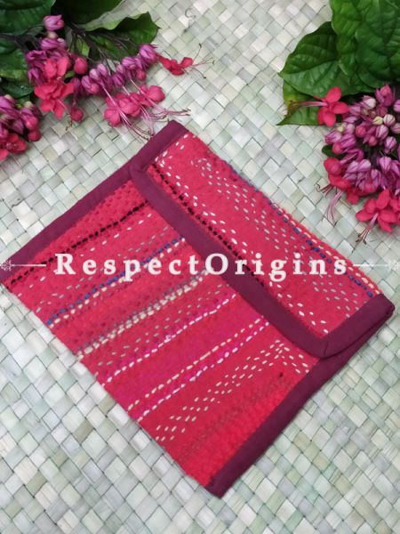 Gorgeous Pink Kantha Embroidered Kindle iPad or Diary Cotton Bag; 10 x 7 Inches; RespectOrigins.com