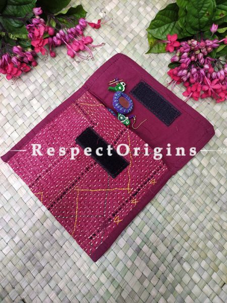 Attractive Pink Kantha Embroidered Kindle iPad or Diary Cotton Bag; 10 x 7 Inches; RespectOrigins.com