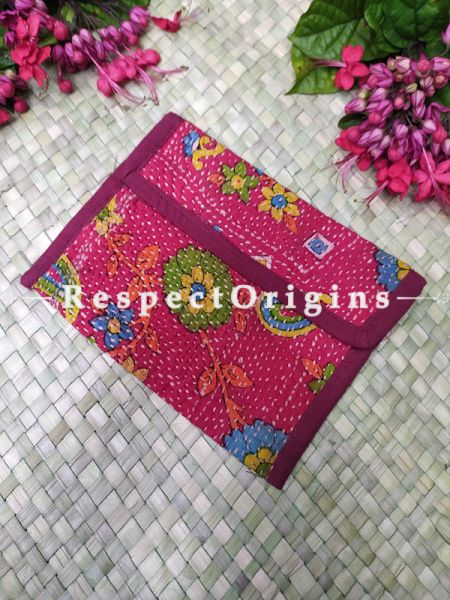 Stunning Pink Kantha Embroidered Kindle iPad or Diary Cotton Bag; 10 x 7 Inches; RespectOrigins.com