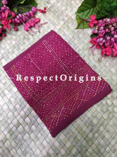 Elegant Pink Kantha Embroidered Kindle iPad or Diary Cotton Bag; 10 x 7 Inches; RespectOrigins.com