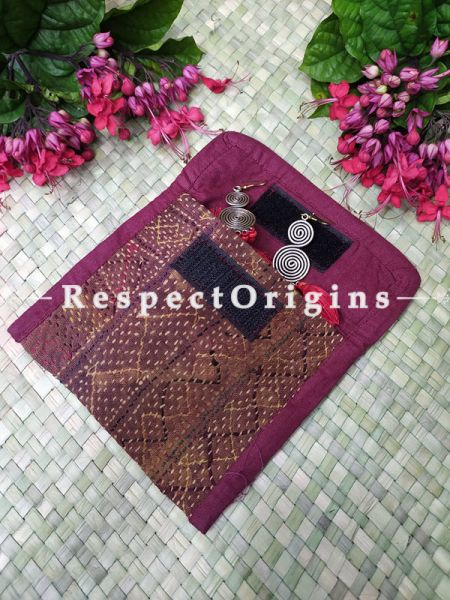 Gorgeous Kantha Embroidered Kindle iPad or Diary Cotton Bag; 10 x 7 Inches; RespectOrigins.com
