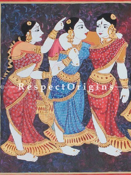 Gossiping Women Folk - Hand PaintedPainting; Acrylic On Paper - 24In x 12In
