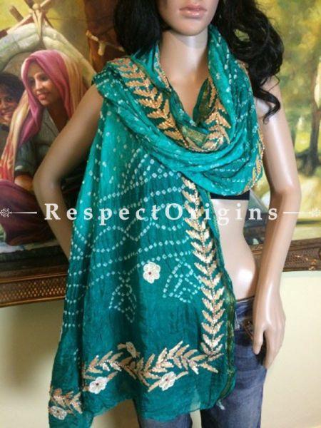 Buy Sea Green n Gold Bandhani Georgette Stole at RespectOrigins.com