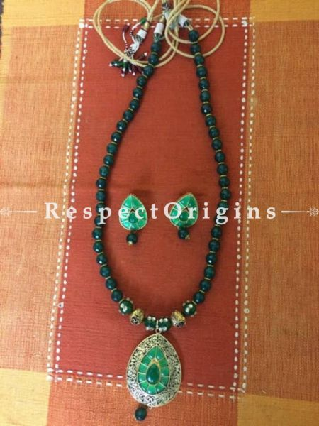 Green Beaded Jewellery Set; Silver, RespectOrigins.com