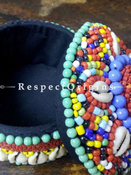 Green, blue and red Jewellery Box With Beads and Sea Shells; Ladakhi Beaded Container; RespectOrigins.com