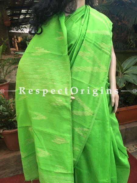 Green; Cotton; Handloom Saree, RespectOrigins.com