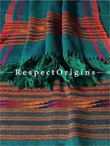 Buy Green Hand woven Woolen Kullu Stoles From Himachal with orange border; Size 80 x 27 inches at RespectOrigins.com