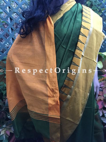 Green; Handloom; Cotton Silk Saree, RespectOrigins.com