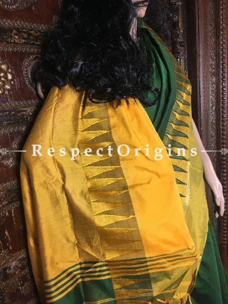 Green; Handloom Saree; Cotton Silk, RespectOrigins.com
