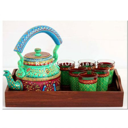 Green Handpainted Aluminium kettle set with Wooden tray; RespectOrigins.com