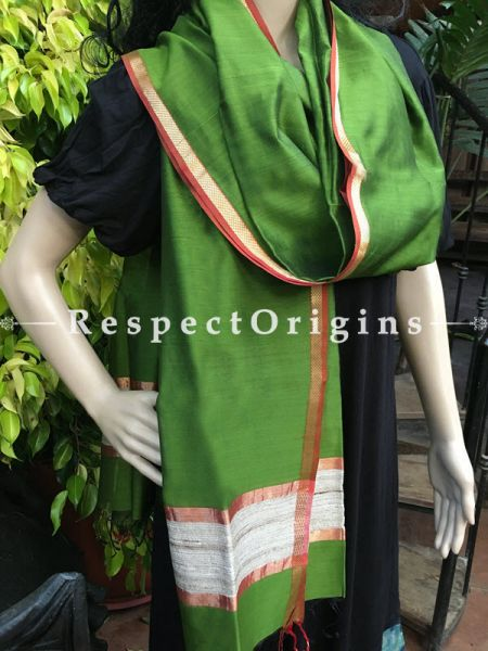 Handloom Green Maheshwari Cotton silk stole with golden Jute work and red border in 50x35 inches; RespectOrigins.com